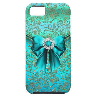 azul del trullo del oro del damasco del iPhone 5 iPhone 5 Coberturas