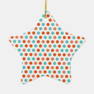 Azul del trullo, lunares blancos anaranjados adorno de cerámica en forma de estrella