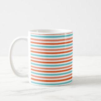 Azul del trullo, rayas anaranjadas coralinas, taza