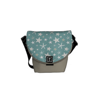 Azul del trullo y estrellas de mar del oro bolsas de mensajería