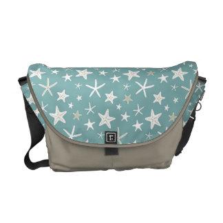 Azul del trullo y estrellas de mar del oro bolsa messenger