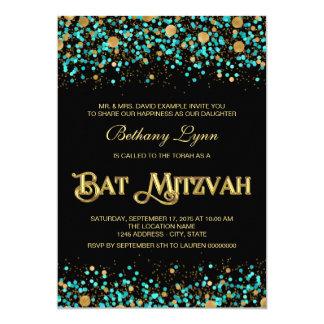 """Azul del trullo y palo Mitzvah del oro Invitación 5"""" X 7"""""""