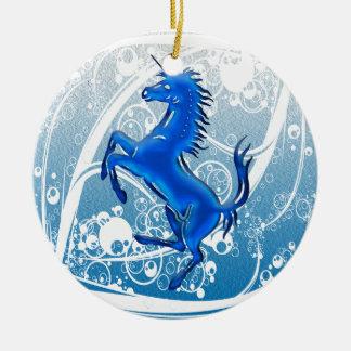 Azul del unicornio 1 adorno de navidad