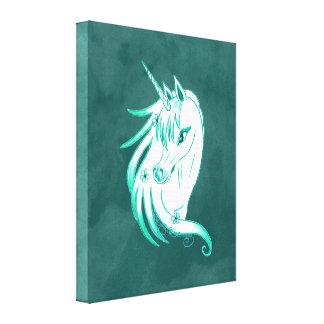 Azul del unicornio impresiones de lienzo