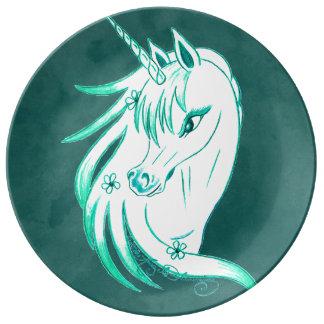 Azul del unicornio plato de cerámica