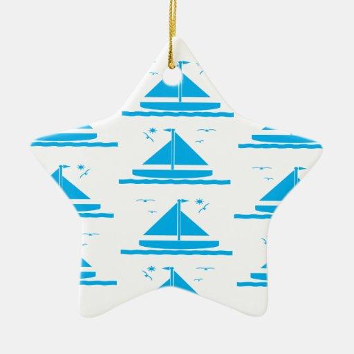 Azul del velero adornos de navidad
