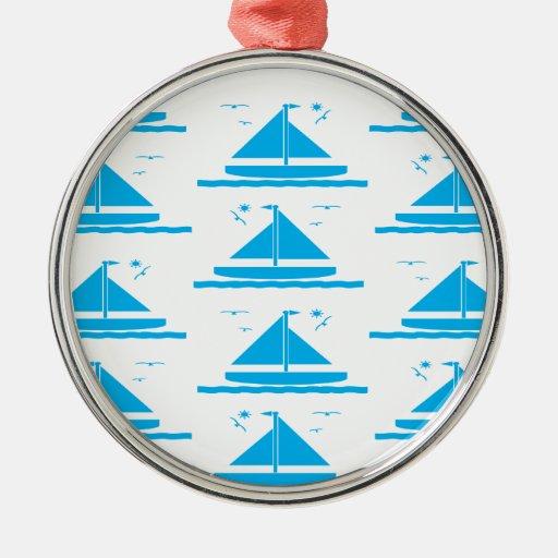 Azul del velero ornamento de navidad