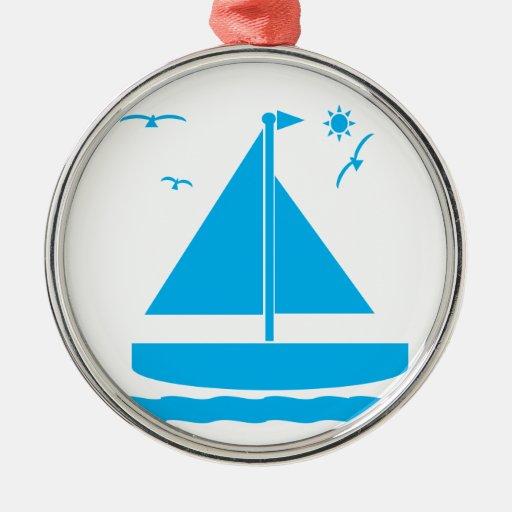 Azul del velero ornamento para arbol de navidad