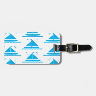 Azul del velero etiquetas para maletas