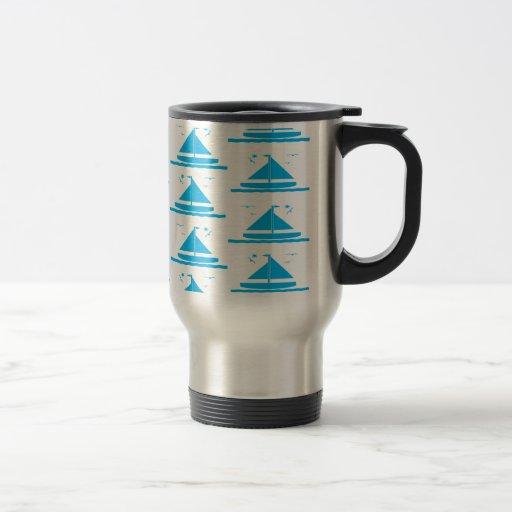 Azul del velero taza de viaje
