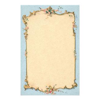 Azul del vintage con la frontera floral  papeleria