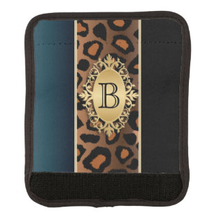 Azul del vintage, negro y monograma de la funda para asa de maleta