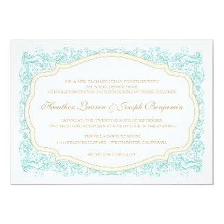 Azul del vintage y invitación adornados del boda