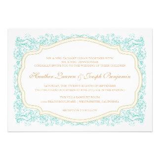 Azul del vintage y invitación adornados del boda d