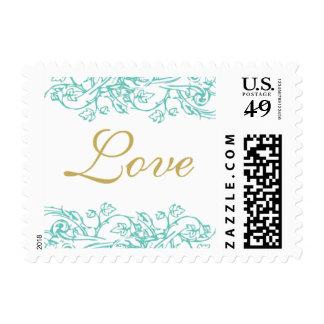 Azul del vintage y sello adornados del amor del or