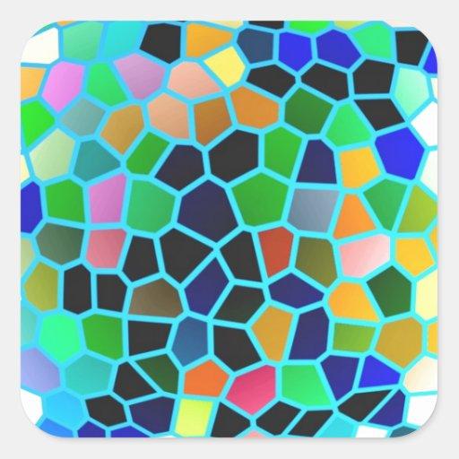 Azul del vitral: Gráficos artísticos de la firma Pegatinas Cuadradases Personalizadas