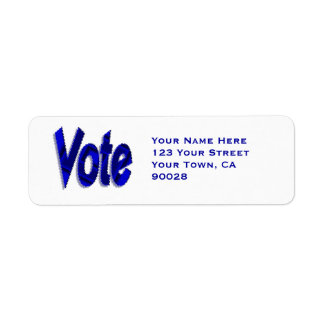 Azul del voto etiqueta de remite