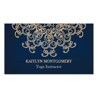 Azul del zafiro y mandala adornada del resplandor tarjetas de visita