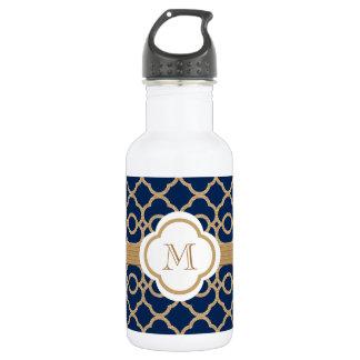 Azul del zafiro y marroquí con monograma del oro