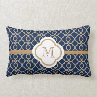 Azul del zafiro y marroquí cones monograma del oro cojín