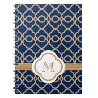 Azul del zafiro y marroquí cones monograma del oro cuaderno