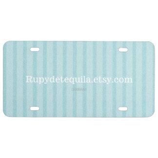 Azul delantero de la placa rayado placa de matrícula