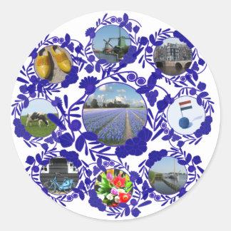Azul Delftware de Holanda Delft Etiquetas Redondas