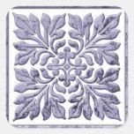 Azul descolorado fresco de la teja inglesa antigua calcomanía cuadrada personalizada