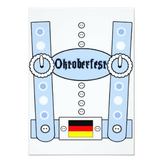 Azul divertido de los Lederhosen de Oktoberfest Invitacion Personal