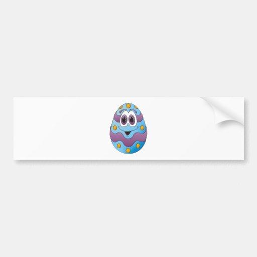 Azul divertido del huevo de Pascua Etiqueta De Parachoque