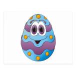 Azul divertido del huevo de Pascua Postales