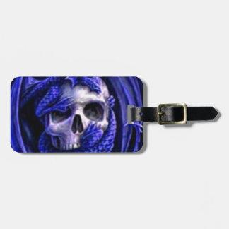 azul-dragón-cráneo etiqueta para maleta