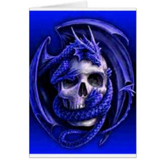 azul-dragón-cráneo tarjeta de felicitación