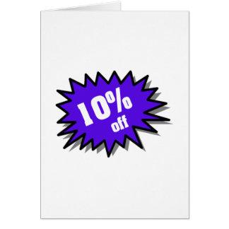 Azul el 10 por ciento apagado tarjeta de felicitación