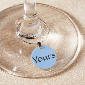 """Azul """"el suyo"""" encantos de la copa de vino del ~ identificador de copa"""