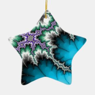 Azul eléctrico adorno navideño de cerámica en forma de estrella