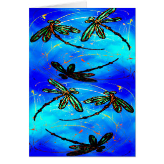 Azul eléctrico del revoloteo de la libélula tarjeta de felicitación