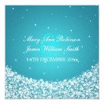 Azul elegante de la chispa de la estrella del boda invitación 13,3 cm x 13,3cm