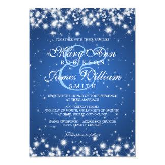 """Azul elegante de la chispa del invierno del boda invitación 5"""" x 7"""""""