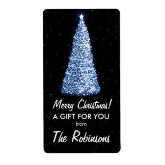 Azul elegante de la etiqueta del regalo del árbol etiqueta de envío