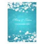 Azul elegante de la flor de cerezo del boda comunicados