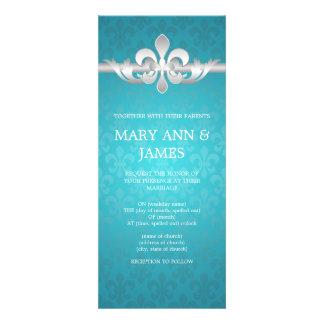 Azul elegante de la flor de lis del boda comunicados personalizados