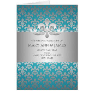 Azul elegante de la flor de lis del programa del b tarjeta
