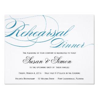 Azul elegante de la invitación de la cena del