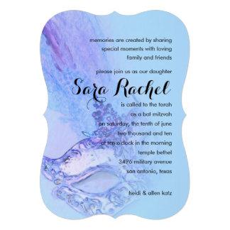 Azul elegante de la máscara de Mitzvah del palo Invitaciones Personalizada