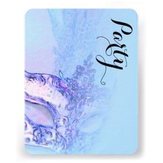 Azul elegante de la máscara de Mitzvah del palo Comunicado