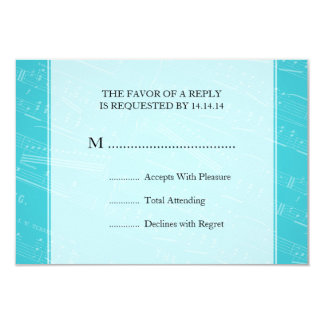 """Azul elegante de la partitura de RSVP que se casa Invitación 3.5"""" X 5"""""""