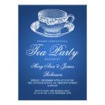 Azul elegante de la taza de té del vintage de la f
