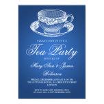 Azul elegante de la taza de té del vintage de la invitación 12,7 x 17,8 cm
