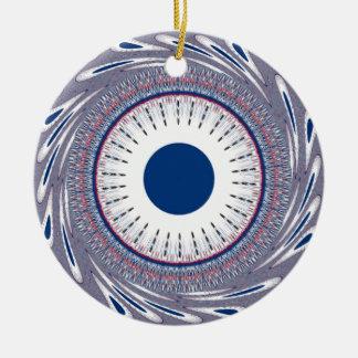 Azul elegante adorno redondo de cerámica